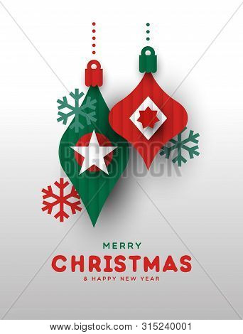 Merry Christmas and Happy New Year greeting card illustration of papercut holiday baubles. Festive paper craft xmas ornaments for winter season. poster