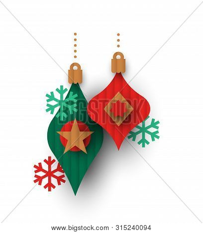 Christmas bauble ornaments in 3d papercut cardboard style. Colorful holiday balls and snowflakes on isolated white background. poster