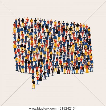 Big People Group Making Social Chat Bubble Shape. Communication Concept With Diverse Women And Men O