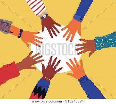 Diverse Young People Hands On Isolated Background. Teenager Hand Group Round Celebration Or Friend C