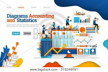 Accounting And Statistics Diagram. Increase Business Performance With Good Accounting. Vector Flat I