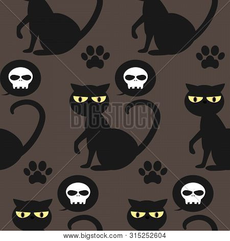 Halloween Seamless Pattern With Black Cat, Skull And Footprints.