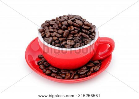 Coffee Bean On Red Cup Isolated On White Background, With Selection Path.