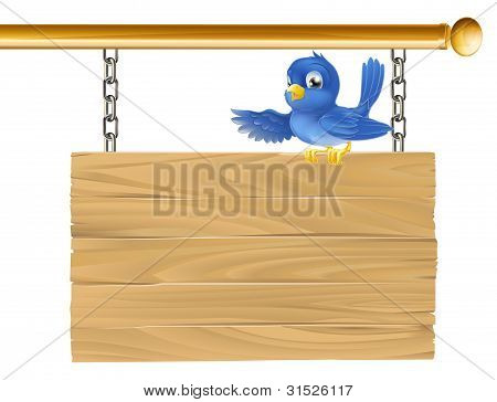 Cute Bluebird Hanging Sign