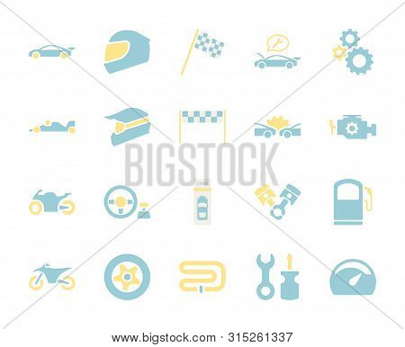 Flat color design icon set of racing video game and esport concept. poster