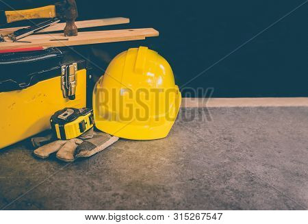 Happy Labor Day Concept And Background. Engineer And Worker Tools. Public Holiday In America And Usa