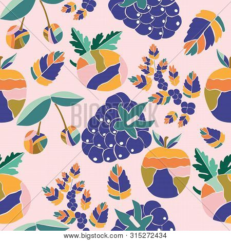 Colorful Groovy Fruits In A Seamless Pattern Design