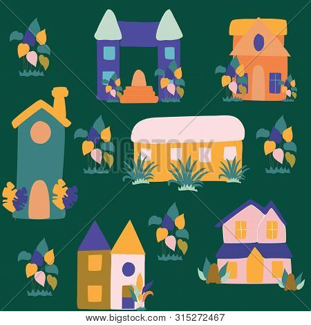 Colorful Groovy Houses, Vector Illustration. Vector Icons