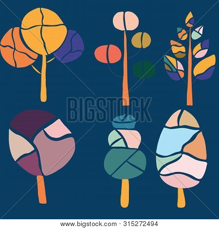 Colorful Groovy Trees, Vector Illustrations. Vector Icons