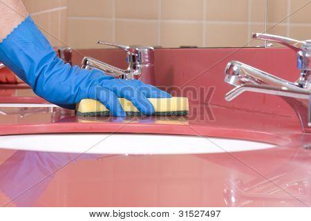 red Bathroom Sink