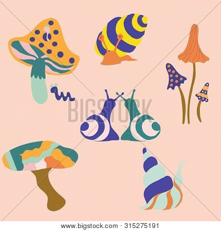 Colorful Groovy Snails And Mushrooms, Vector Illustrations