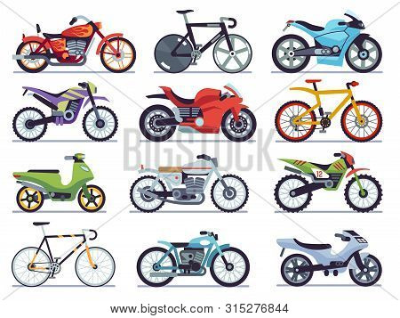 Motorbike Set. Motorcycles And Scooters, Bikes And Choppers. Speed Race And Delivery Retro And Moder