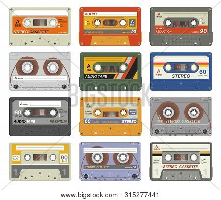 Retro Cassettes. Colorful Plastic Audio Cassette Vintage Media Device Music Technology Tapes Stereo