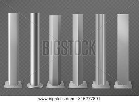 Metal Poles. Metalic Pillars For Urban Advertising Sign And Billboard. Polish Steel Columns In Diffe