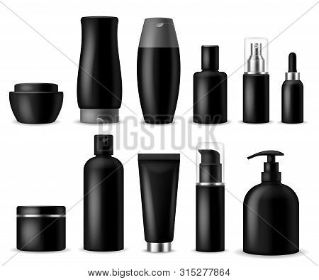 Realistic Cosmetic Mockups. Black Cosmetics Bottle, Container And Jar. Women Beauty Products. Spray,