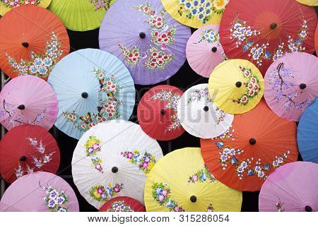 Colorful Lanna Umbrella Viewpoint For Indian People And Foreign Travelers Take Photo At Thai Festiva