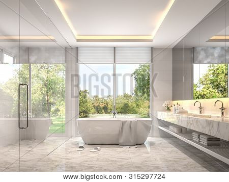 Modern Luxury White Bathroom 3d Render. Room With Marble Tile Floors. There Is A Glass Shower Wall.