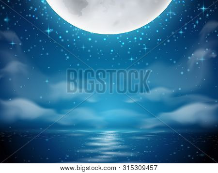 Night Background With Moon And Sea. Dark Background With Moon Reflection On Ocean, River Water. Roma