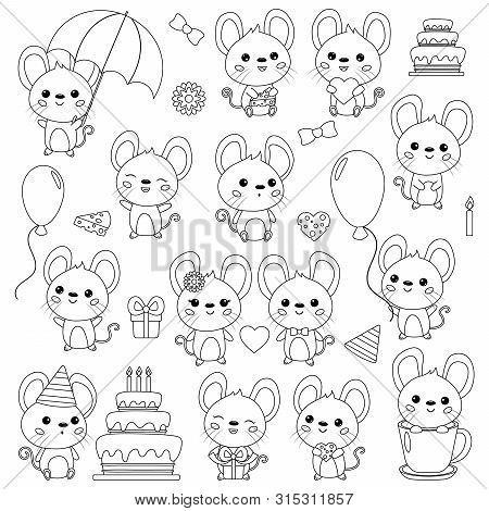 Coloring Page For Kids. Vector Set Of Cute Kawaii Cartoon Mice. Mouse With Birthday Cake, Gift, Umbr