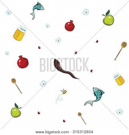 Rosh Hashana Seamless Pattern With Symbols Of Jewish New Year Holiday Vector Illustration Design.