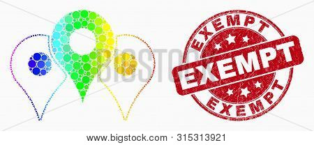 Dot Bright Spectral Map Markers Mosaic Icon And Exempt Watermark. Red Vector Rounded Scratched Water
