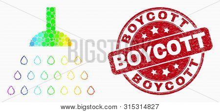 Dot Bright Spectral Shower Mosaic Pictogram And Boycott Watermark. Red Vector Round Textured Waterma