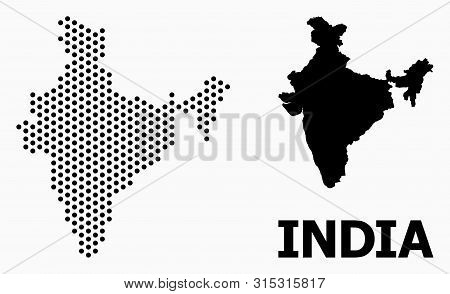 Dot Map Of India Composition And Solid Illustration. Vector Map Of India Composition Of Sphere Items