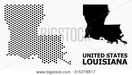 Pixel Map Of Louisiana State Composition And Solid Illustration. Vector Map Of Louisiana State Compo