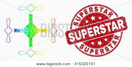 Dot Spectral Quadcopter Mosaic Icon And Superstar Seal Stamp. Red Vector Round Grunge Seal Stamp Wit