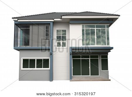 Modern House Contemporary Style (with Clipping Path) Isolated On White Background