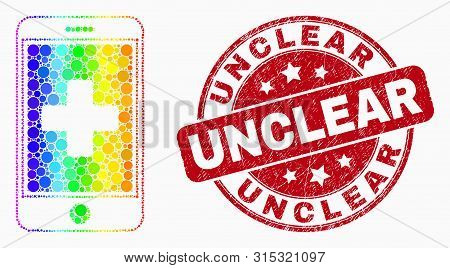 Dot Spectrum Medical Mobile App Mosaic Icon And Unclear Seal Stamp. Red Vector Rounded Distress Stam