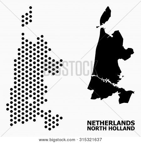 Pixelated Map Of North Holland Composition And Solid Illustration. Vector Map Of North Holland Compo