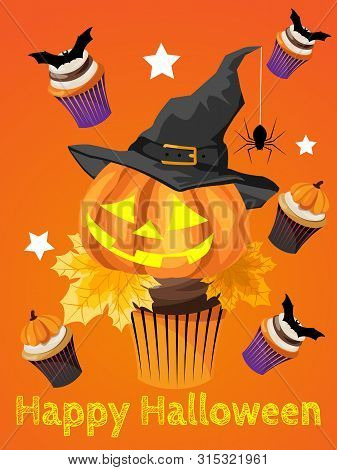 Halloween Background With Halloween Cupcake And Hello Halloween And Happy Halloween Text. Invitation