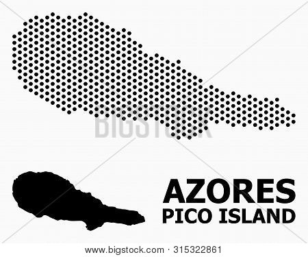 Dotted Map Of Pico Island Composition And Solid Illustration. Vector Map Of Pico Island Composition