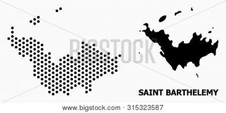 Dotted Map Of Saint Barthelemy Composition And Solid Illustration. Vector Map Of Saint Barthelemy Co