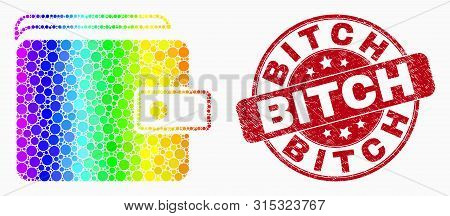 Dotted Bright Spectral Purse Mosaic Pictogram And Bitch Seal Stamp. Red Vector Round Scratched Stamp