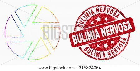 Dotted Bright Spectral Shutter Mosaic Icon And Bulimia Nervosa Seal Stamp. Red Vector Rounded Scratc