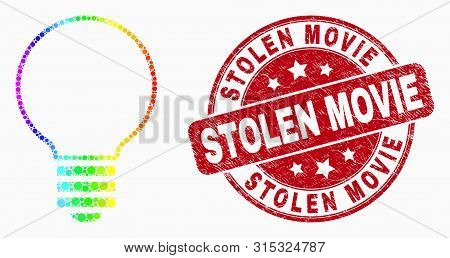 Dotted Rainbow Gradiented Electric Bulb Mosaic Pictogram And Stolen Movie Watermark. Red Vector Roun