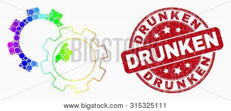 Dotted Rainbow Gradiented Gears Mosaic Icon And Drunken Seal Stamp. Red Vector Rounded Scratched Sea