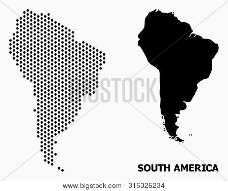 Dotted Map Of South America Composition And Solid Illustration. Vector Map Of South America Composit