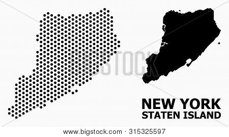 Pixelated Map Of Staten Island Composition And Solid Illustration. Vector Map Of Staten Island Compo