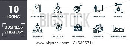 Business Strategy Icon Set. Contain Filled Flat Business Solves, Brand Strategy, Competitive Strateg