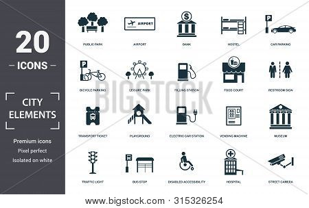 City Elements Icon Set. Contain Filled Flat Disabled Accessibility, Traffic Light, Bicycle Parking,