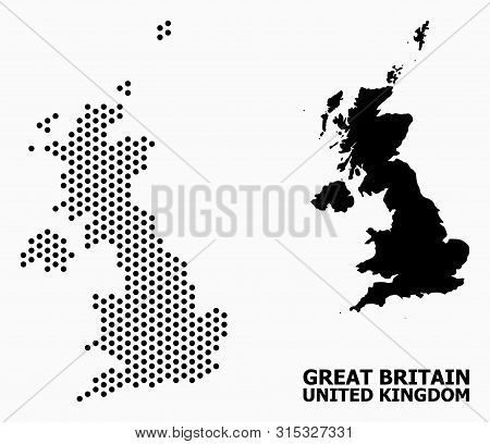 Pixelated Map Of United Kingdom Composition And Solid Illustration. Vector Map Of United Kingdom Com