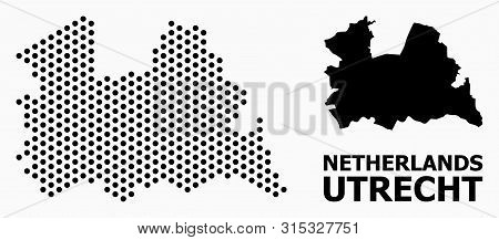 Pixelated Map Of Utrecht Province Composition And Solid Illustration. Vector Map Of Utrecht Province