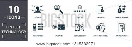 Fintech Technology Icon Set. Contain Filled Flat Robo-advisor, Tax Regulation, Kyc, Payment Gateway,