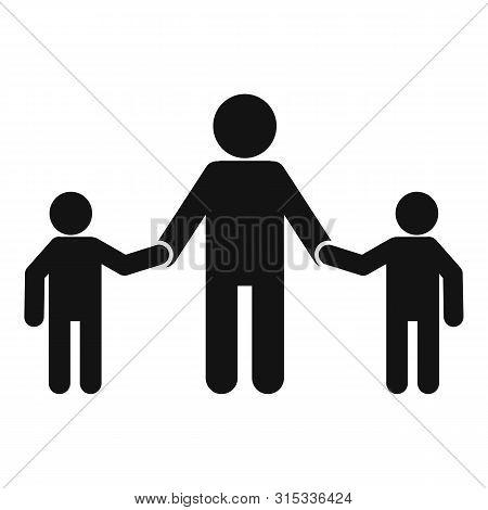 School Children Help Senior Man Icon. Simple Illustration Of School Children Help Senior Man Vector