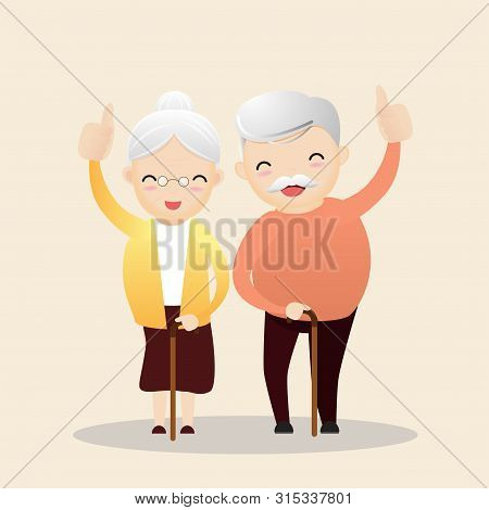 Retirement Concept. Old Man And Woman With Golden Piggy Bank. Carrying Retirement Savings Pink Piggy