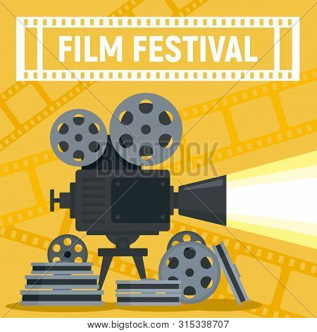 Film Festival Camera Reel Concept Banner. Flat Illustration Of Film Festival Camera Reel Vector Conc
