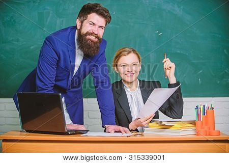 Studying Together Is Fun. Teacher And Student On Exam. Businessman And Happy Secretary. Business Cou